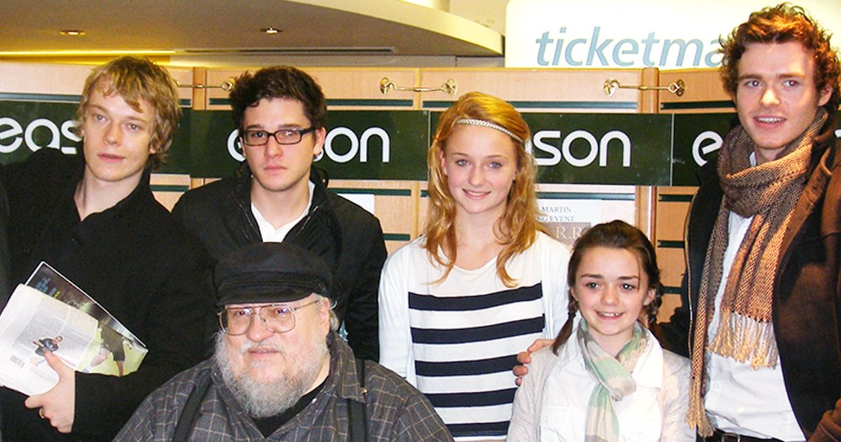 george r.r. martin with game of thrones season 1 cast